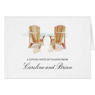 Zwei Aquarell Adirondack Strand-Stühle Karte