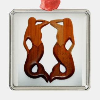 zwei Ausblickmeerjungfrauen Silbernes Ornament