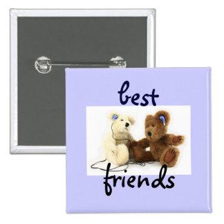 Zwei Bärn-beste Freund-Knopf Quadratischer Button 5,1 Cm