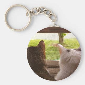 Zwei BESTE FREUNDIN Katzen, die aus dem Fenster Schlüsselanhänger