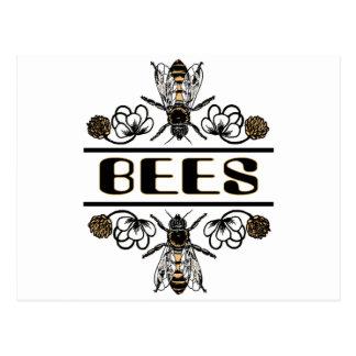 zwei Bienen mit Klee trans1 Postkarte