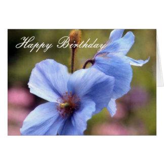 Zwei blaue Mohnblumen alles Gute zum Geburtstag Karte
