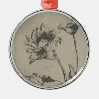 Zwei Blumen - französisches Ren. Silbernes Ornament