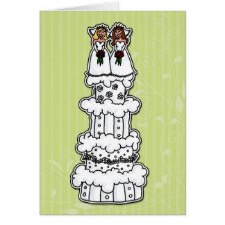 Zwei Bräute auf Hochzeitstorte Karte