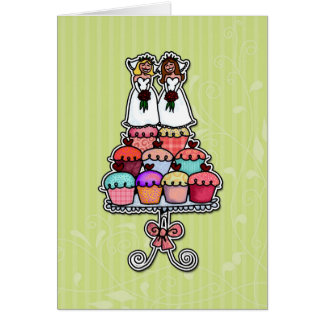 Zwei Bräute auf kleinen Kuchen Karten