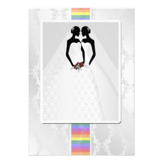 Zwei Bräute in den Brautkleidern Wedding Personalisierte Einladungskarten
