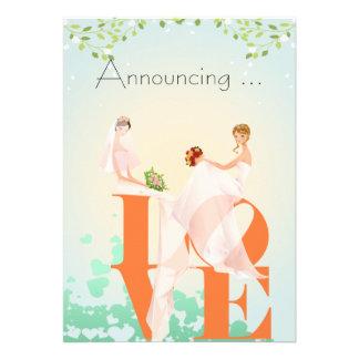 Zwei Bräute LIEBE die Annoucement Wedding ist