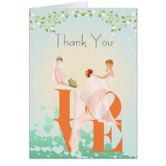 Zwei Bräute LIEBE Lesbe danken Ihnen Hochzeits-Kar Karte