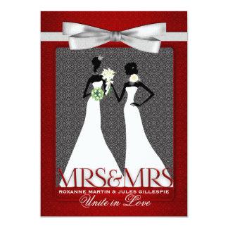 Zwei Bräute rot mit den weißen Wedding Kleidern 12,7 X 17,8 Cm Einladungskarte