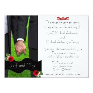 Zwei Bräutigam-kundenspezifische homosexuelle 16,5 X 22,2 Cm Einladungskarte