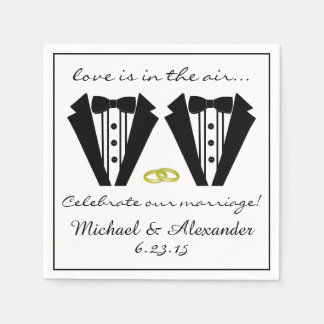 Zwei Bräutigam-Smoking Hochzeit Papierservietten