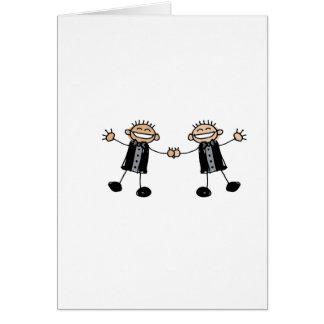 Zwei Bräutigam-Tanzen glücklich Karte