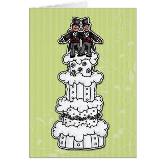 Zwei Bräutigame auf Hochzeitstorte Karte