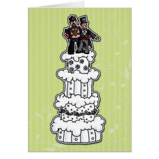 Zwei Bräutigame auf Hochzeitstorte (lederner Vati) Karte