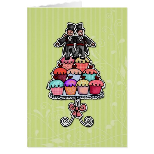 Zwei Bräutigame auf kleinen Kuchen Karten