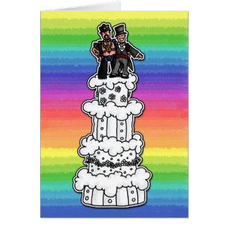 Zwei Bräutigame auf Regenbogen-Hochzeitstorte Grußkarte