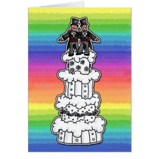 Zwei Bräutigame auf Regenbogen-Hochzeitstorte Karte