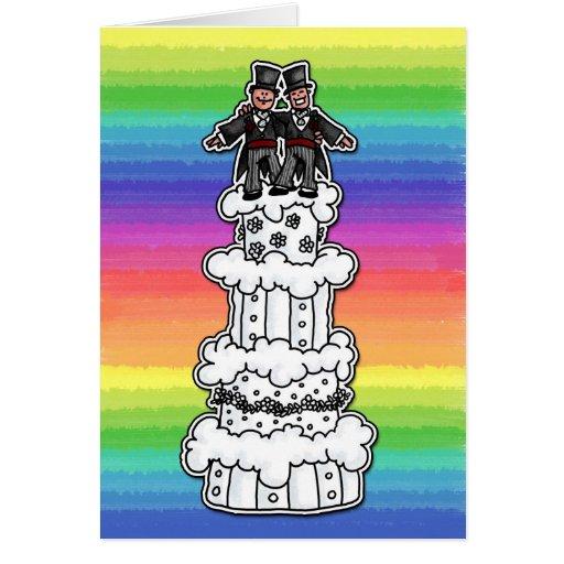 Zwei Bräutigame auf Regenbogen-Hochzeitstorte Karten