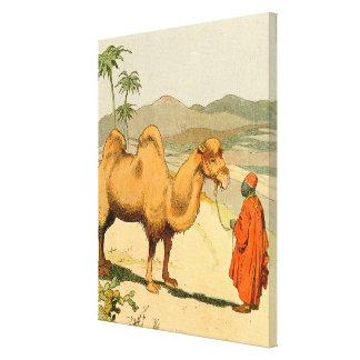 Zwei-Buckel Bactrian Kamel in der Wüste Leinwanddruck