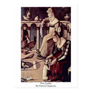 Zwei Damen durch Vittore Carpaccio Postkarte