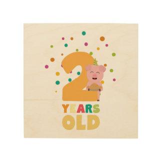 Zwei des zweiten Geburtstags-Jahre Party-Zkgcl Holzdruck