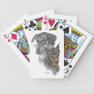 Zwei Dobermannpinscher-Hundespielkarten Bicycle Spielkarten