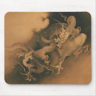 Zwei Drachen in den Wolken Vintag Mauspad