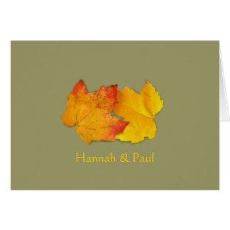 Zwei einfaches Blätter dankt Ihnen Karte