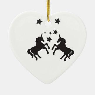 Zwei Einhörner Keramik Herz-Ornament