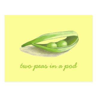 Zwei Erbsen in einer Hülse - Save the Date Postkarte