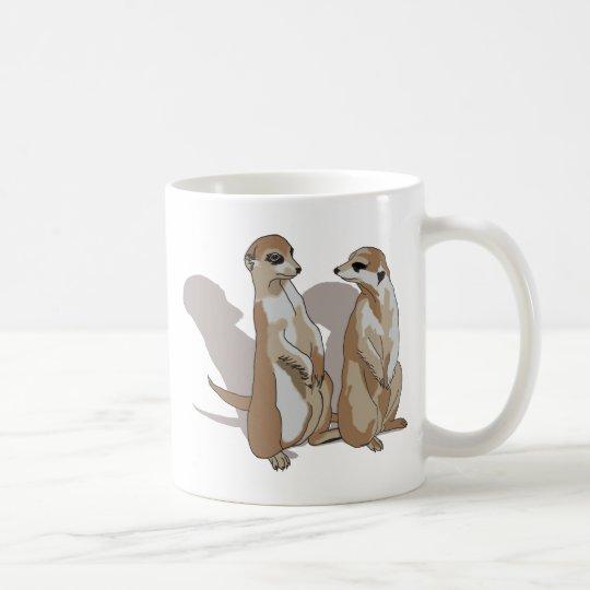 zwei Erdmännchen mit Schatten Kaffeetasse