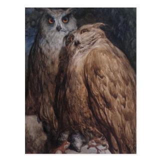 Zwei Eulen durch Gustave Dore Postkarte