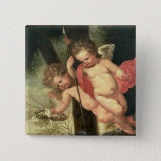 Zwei fliegende Engel, Dornenkrone halten Quadratischer Button 5,1 Cm