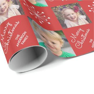 Zwei Foto-Rahmen-Schneeflocke-rote frohe Geschenkpapier