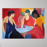 Zwei Frauen in einem Café - Druck Poster