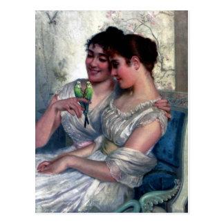 zwei Frauen-Liebe-Vogelschwestern Postkarte