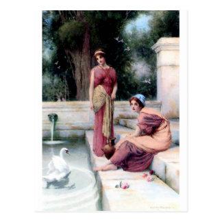 Zwei Frauen-Schwanmalerei Postkarte
