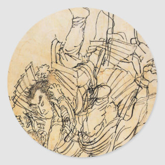 Zwei Gegner im Unterwasserkampf Utagawa Kuniyosh Runder Aufkleber
