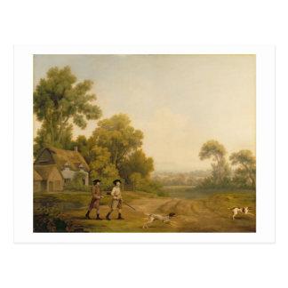 Zwei gehende Herren ein Schießen (Öl auf Leinwand) Postkarte