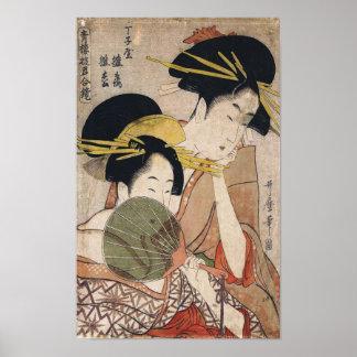 Zwei Geisha-japanische Vintage Kunst Poster