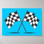 Zwei gekreuztes Zielflagge-Plakat Poster