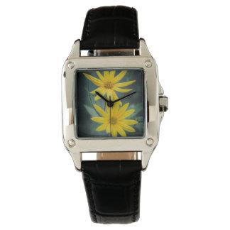 Zwei gelbe Blumen Topinambur Armbanduhr