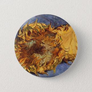 Zwei geschnittene Sonnenblumen durch Vincent van Runder Button 5,7 Cm