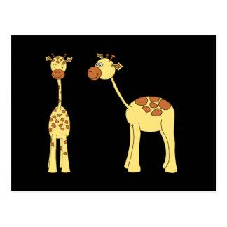 Zwei Giraffen. Cartoon Postkarte