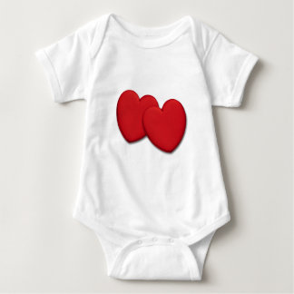 Zwei glatte rote Herzen Baby Strampler