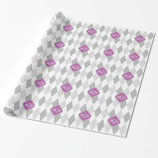 Zwei graues weißes Anfangsmonogramm der Geschenkpapier