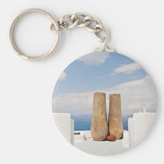 Zwei große Töpfe auf Santorini Insel Schlüsselanhänger