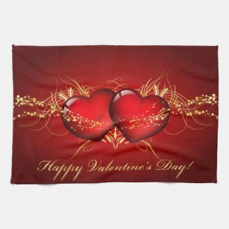 Zwei Herz-glücklicher Valentinstag Handtuch