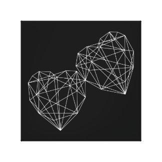Zwei Herz-Liebe-geometrische minimale Leinwanddruck