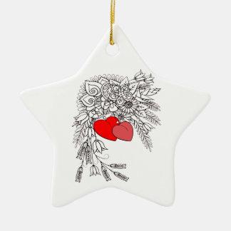 Zwei Herzen 2 Keramik Ornament
